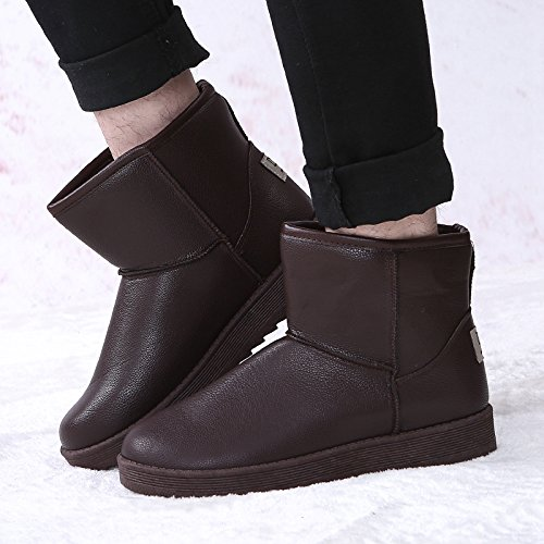 Winter snow boots with thick warm shoes leather cashmere anti-skid men short boots female lovers,41 Brown by ZRLsly
