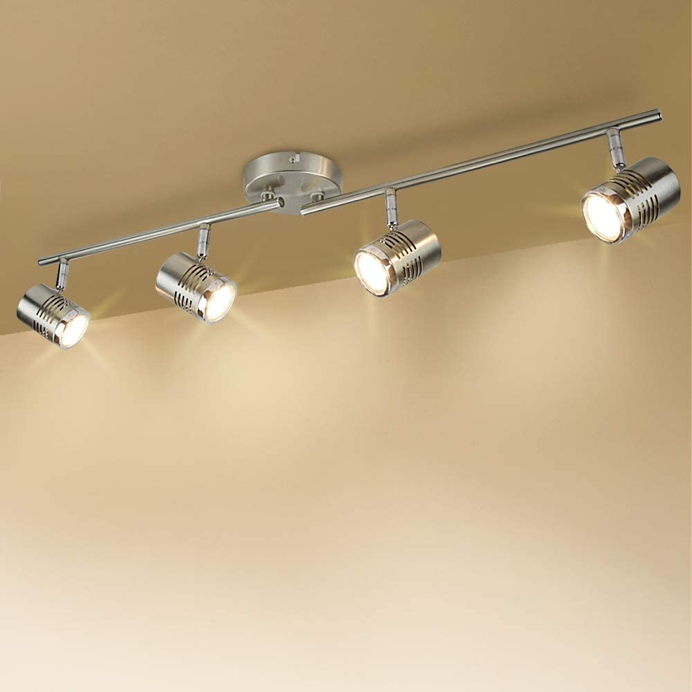 DLLT Led Track Light, Complete Track Lighting Kits, Flush Mount Ceiling  Spot Lights gu10 Bulbs(Included) for Kitchen, Dining Room, Bedroom,  Hallway, 4 Lights-Warm Light - - Amazon.com