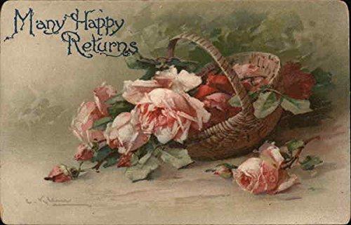 Flower Filled (Basket Filled With Pink Flowers C Klein Original Vintage Postcard)