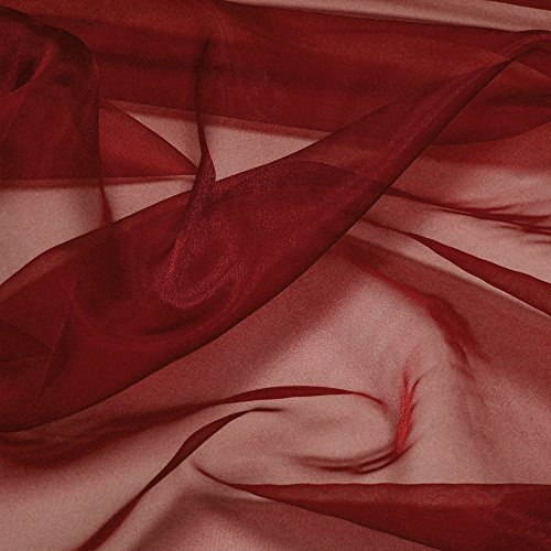 "mds Pack of 10 Yard Bridal Solid Sheer Organza Fabric Bolt for Wedding Dress,Fashion, Crafts, Decorations Silky Shiny Organza 44""- Maroon"