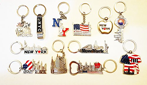 (12 Metal NYC Keychains / New York City Metal Key Rings (Statue of Liberty, Empire State Building, World Trade Center))