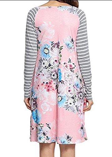 Delle Rosa Vestito Lunga Donne Top Coolred Gessato Stampa Wid Fiore Manica Eqppv8f