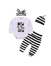 Mikrdoo Baby Clothe Set Letter Print Long Sleeve Romper + Striped Pants+Hat Outfits
