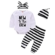 Mikrdoo Baby Girl Boy Clothe Set New to The Crew Print Long Sleeve Romper + Striped Pants+Hat 3pcs Outfits (0-3 Months, A)