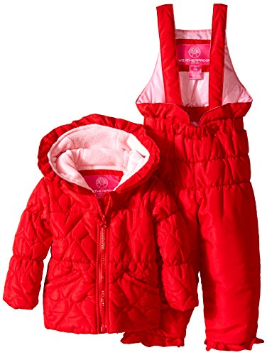 Weatherproof Baby-Girls Infant Heart Shaped Quilted Puffer Snowsuit, Engine Red, 12 Months