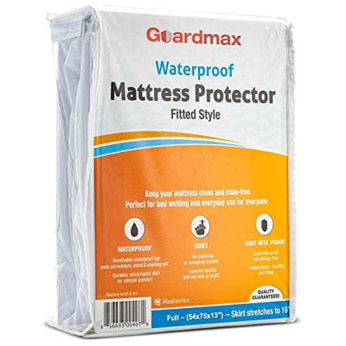 (Guardmax Fitted Waterproof Mattress Protector - Hypoallergenic Cover, Noiseless and Breathable - Full Size (54x75) - Skirt Stretches to 16)