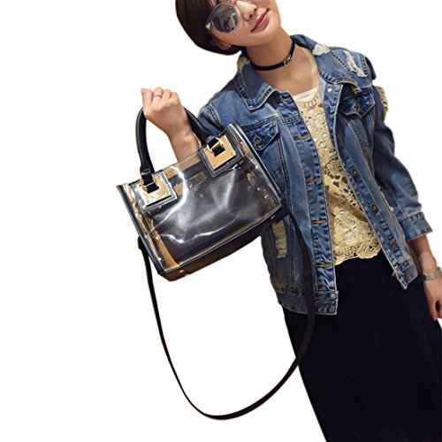 Swimming Shoulder Bags Transparent Handbag Waterproof amp;shoulder Clear Espeedy Messenger Handbag with Small Shoulder PVC Summer Jelly Beach Cosmetic Tote amp;crossbody Beach bag Handbag Bag Women Candy Black Bag A1zTzq
