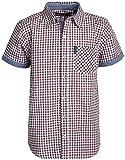Ben Sherman Boys Short Sleeve Button Down Shirt (Red/Plaid, 18)'