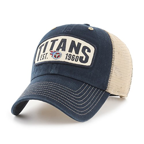 NFL Tennessee Titans Woodford OTS Challenger Adjustable Hat, Navy, One Size
