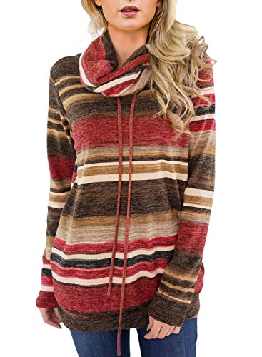 Asvivid Womens Color Block Striped Comfy Tunic Sweatshirt Cowl Neck Fleece Sweater Ladies Soft Junior Hoodies Pullovers L Red