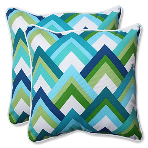 Pillow Perfect Outdoor Resort Peacock 18.5-Inch Throw Pillow, Blue, Set of 2