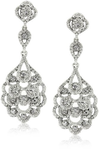 Nina-Eiffel-Antique-Silver-Plated-Drop-Earrings