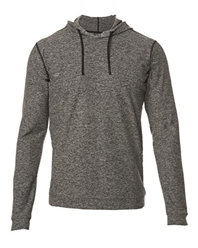Polo Sleeveless Zip - SODO Men's SLU Premium Performance Pullover Hoodie- Heather Black/Black, X-Large