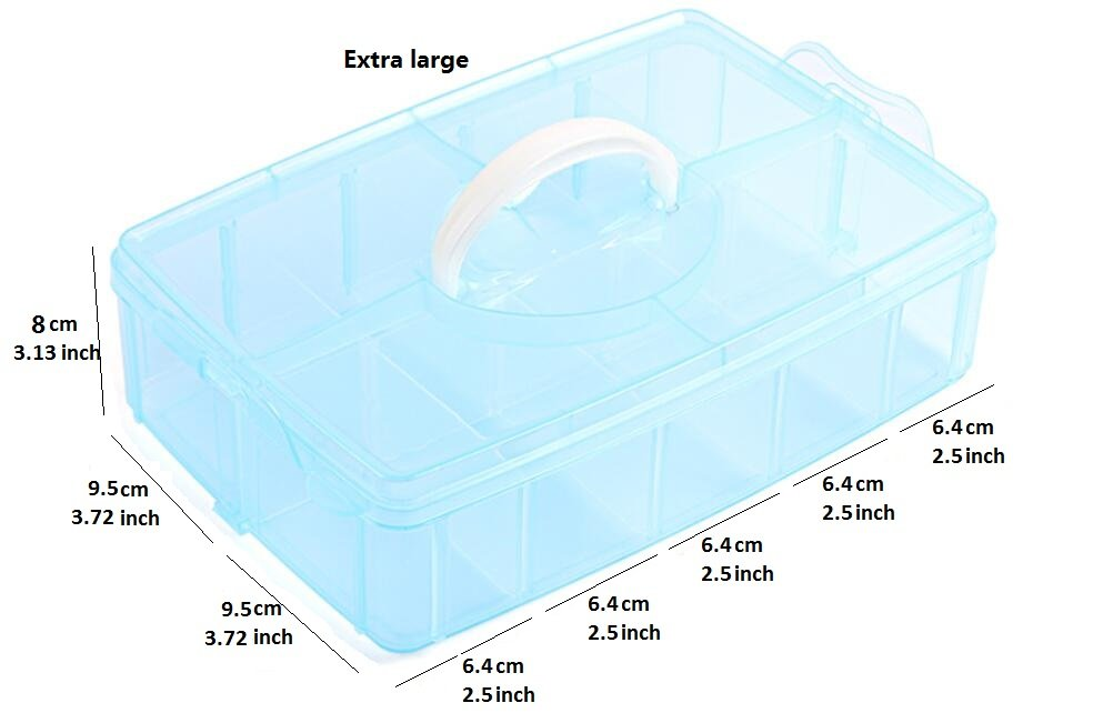 Large 30 Compartment, White MINGHU 3-Tier Transparent Stackable Adjustable Compartment Slot Plastic Craft Storage Box Organizer Snap-lock Tray Container 3 Sizes 4 Candy Colors Available