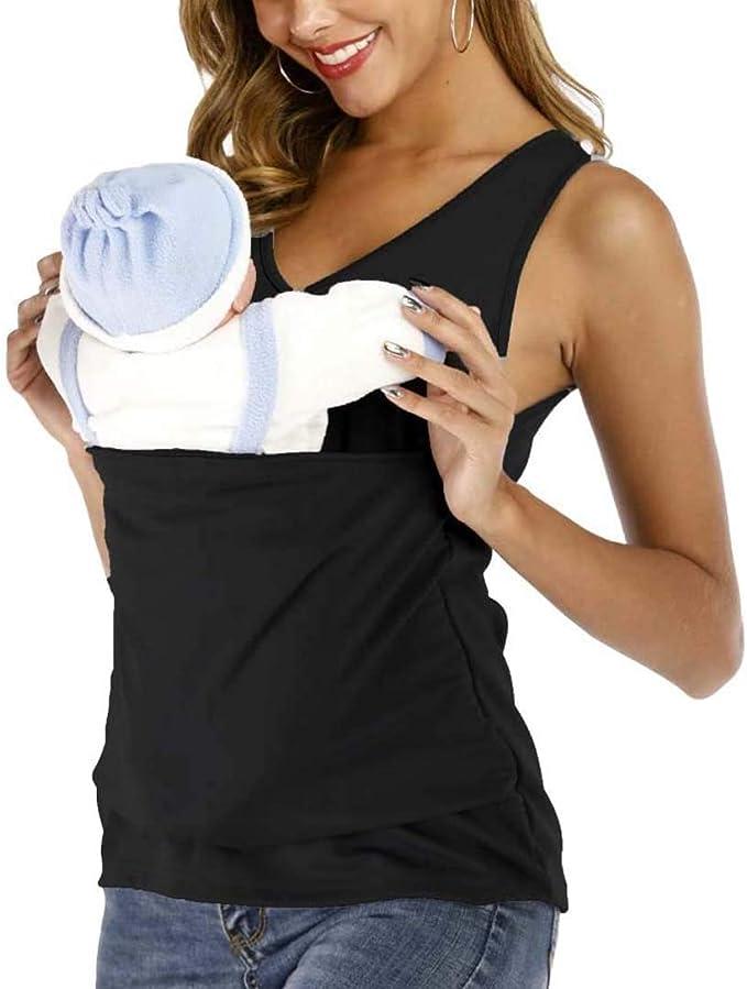 Frauen Känguru-Mama T-Shirt Neugeborenenpflege Träger