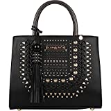Satchel Handbag With Laser Cut Design, Braided Front Detail, and Gold Embellishments [Black]