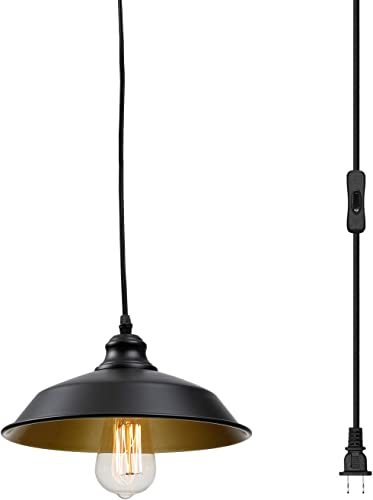Industrial Plug in Pendant Lighting Vintage Hanging Light with 14.3ft Hanging Cord On Off Switch,Metal Hanging Lamp for Kitchen Island,Dining Room,Barn,Farmhouse
