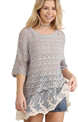 Crochet Knit Sweater - Umgee Women's Lightweight Crochet Knit Sweater With Lace Hem Back Slit and Elbow Length Sleeves (Medium, Silver)
