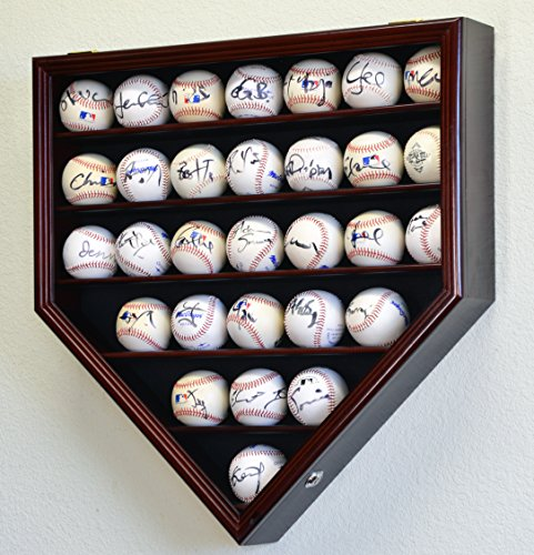 30 Baseball Display Case Cabinet Holder Rack Home Plate Shaped w/ UV Protection- Lockable -Cherry
