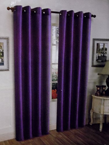 Gorgeous Home *DIFFERENT SOLID COLORS & SIZES* (#72) 1 PANEL SOLID THERMAL FOAM LINED BLACKOUT HEAVY THICK WINDOW CURTAIN DRAPES BRONZE GROMMETS (PURPLE, 95