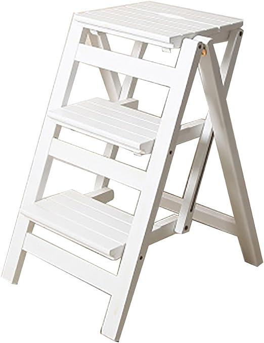 Taburete de escalera ZCJB Taburete Plegable De Escalera De 3 Niveles Escalera De Madera Portátil Escalera De Escalera De Mano Silla De Banco Asiento Cocina De Hogar Taburete (Color : Blanco): Amazon.es: