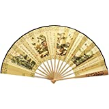 Oriental Style Folding Fan Hand Fan Handfan Handheld Fan Perfect Gift, K