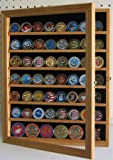 Challenge Coin/Poker Chip/Antique Coin Display Case Holder Cabinet - OAK Finish (COIN56-OA)