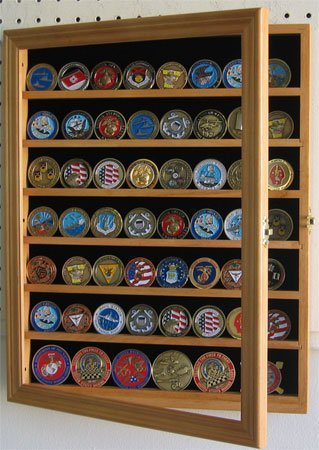 Challenge Coin/Casino Chip Display Case Cabinet Holder Shadow Box, Glass Door -