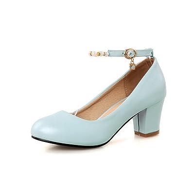 Damen Weiches Material Schnalle Rund Zehe Rein Pumps Schuhe, Weiß, 34 AllhqFashion