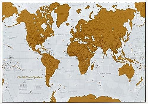 Die Welt Zum Rubbeln Scratch Map Deutsch Weltkarte Zum