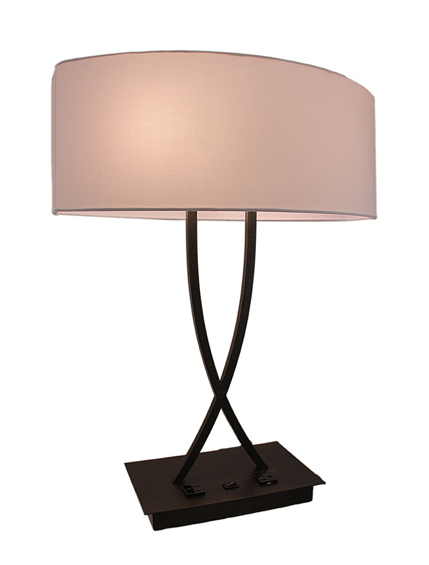 Metal Table Lamps Bronze Finish Curved Metal Table Lamp W/Power Outlet 17.5 X 24 X 10 Inches Brown