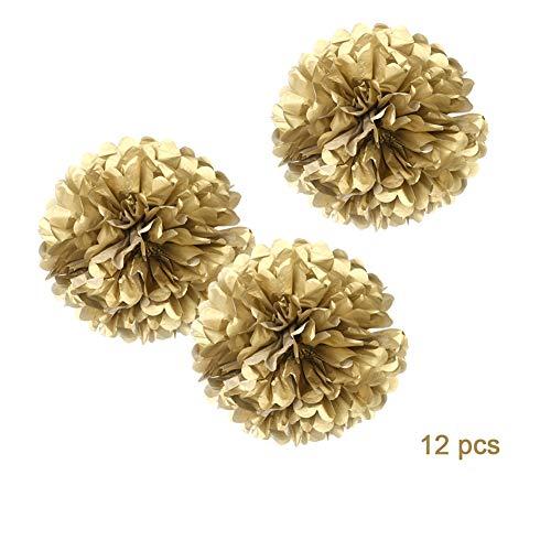 "12"" Gold Tissue Pom Poms DIY Paper Flower Hanging for Party"