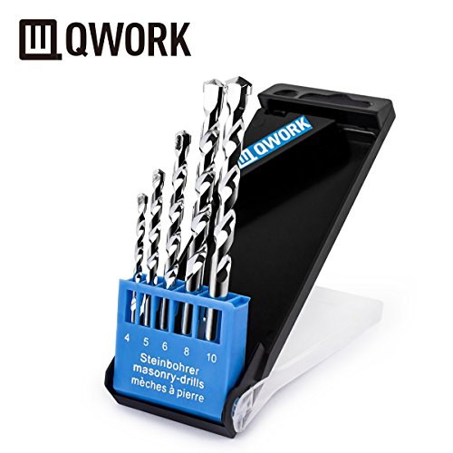 QWORK 5 Pcs Masonry Drill Bit Set, Strengthened Carbide Tip, Chrome Plated - Durable Storage Case -Drills Through Concrete, Tile, Brick, Plastic, Wood, Drywall and Other Masonry