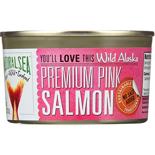 Natural Sea Salmon - Premium Pink - Wild Alaska - No Salt Added - 7.5 oz - (Pack of 3 ) by Natural Sea