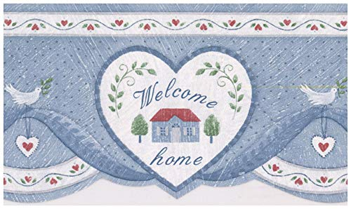 Prepasted Wallpaper Border - Home Blessings in Hearts Cerulean Blue Wall Border Retro Design, Roll 15 ft. x 5 in. ()
