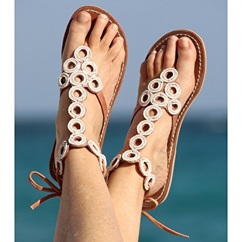 068c7c3f43e4 Amazon.com  Women s Flat Beaded Gladiator Sandals Summer Beach Shoes ...