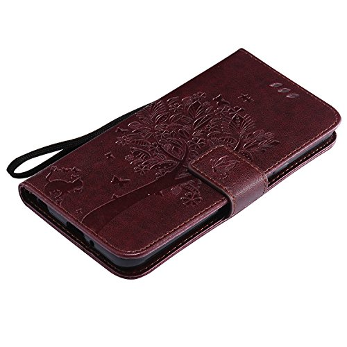 Funda LG Q6, SsHhUu Funda PU Piel Genuino [Ranuras para Tarjetas] [Cierre Magnetico] con Lápiz óptico + Acollador para LG Q6 M700A M700DSK M700AN Q6+ Q6a 5.5 Rojo Marrón