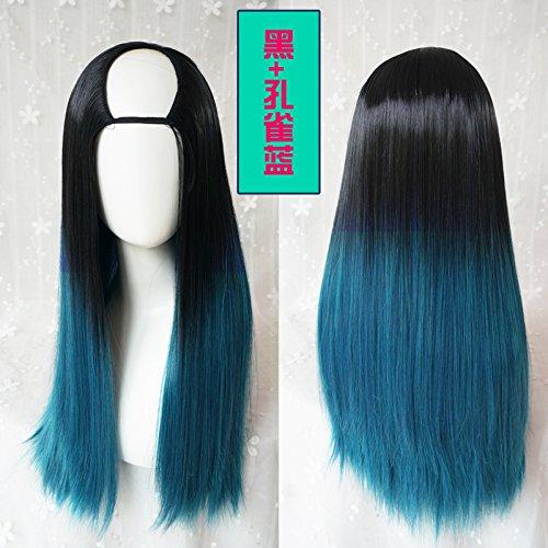 I  WIAGHUAS Noir et Vert Gradient Cheveux Perruque Femme Longue Cheveux Raides Cheveux en U Définit Invisible Sans grise Avant-Garde Naturel Cheveux Style,O