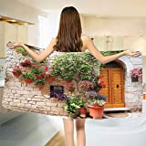 smallbeefly Tuscan Bath Towel Begonia Blossoms in Box Window Wooden Shutters Brick Wall Romagna Italy Customized Bath Towels Orange White Green Size: W 19.5'' x L 39.24''