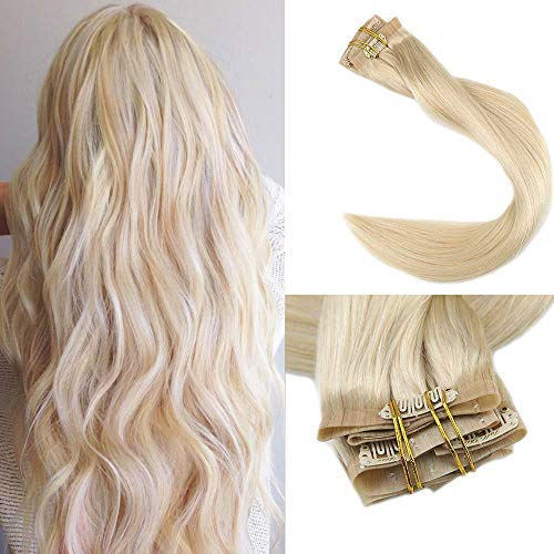 Full Shine 8 Pieces 22 inch 120g Seamless Clip in Thick Hair Extensions Human Hair Extensions Clip in Great Lengths Blonde Color #613 Sew Clip on to Pu Tape Remi Hair Extensions De Clip Naturales