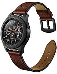 20mm Watch Band, OXWALLEN Quick Release Top Grain Leather Strap for Verizon Gizmo Watch, Samsung Active/Active 2, Galaxy Watch 42mm, Gear Sport, Some of Garmin,Fossil, Pebble Watches - Coffee