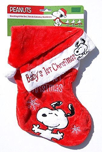 - Peanuts Snoopy Soft Babys First Christmas Stocking and Hat Set