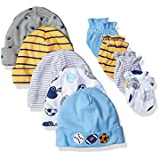 Gerber Baby-Boys Newborn 5 Pack Caps (0-6 months) and 4 Pack Mitten (0-3 months) Bundle,Car and Stripe,Newborn