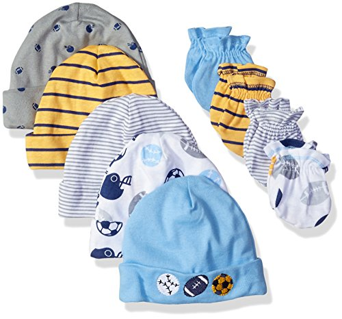 Gerber Baby Boys' 9 Piece Cap (0-6M) and Mitten (0-3M) Bundle, Multi-Sport, Newborn (Hat Set Cap)