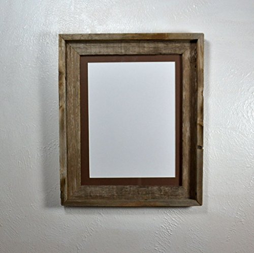 Picture Frame With 9x12 Harvest Brown Mat Rustic Repurposed Wood Complete 11x14 Without Mat