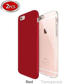 Funda iPhone 6/6s Zeuste Funda Carcasa Gel Transparente y Rojo ...