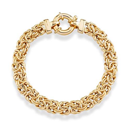 MiaBella 18K Gold Over Sterling Silver Italian 9mm Classic Byzantine Link Chain Bracelet for Women, 7, 7.25, 7.5, 8 Inch 925 Italy ()