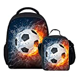 Coloranimal Fire 3D Soccer Printing Mini Backpacks+Lunch Purse Boxes