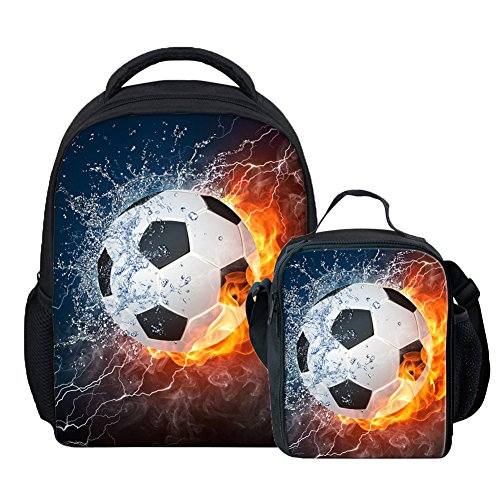 Coloranimal Fire 3D Soccer Printing Mini Backpacks+Lunch Purse Boxes by Coloranimal