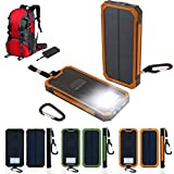 New Portable Solar Power Bank Charger Panel with Flashlight Brightness LED light Lamp 12000mAh Dual USB Battery Exterrnal Charger for Outdoor Camping Hiking Cycling Travelling (Orange)